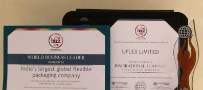 WORLDCOB felicitated Uflex with 'The Bizz 2016' Award